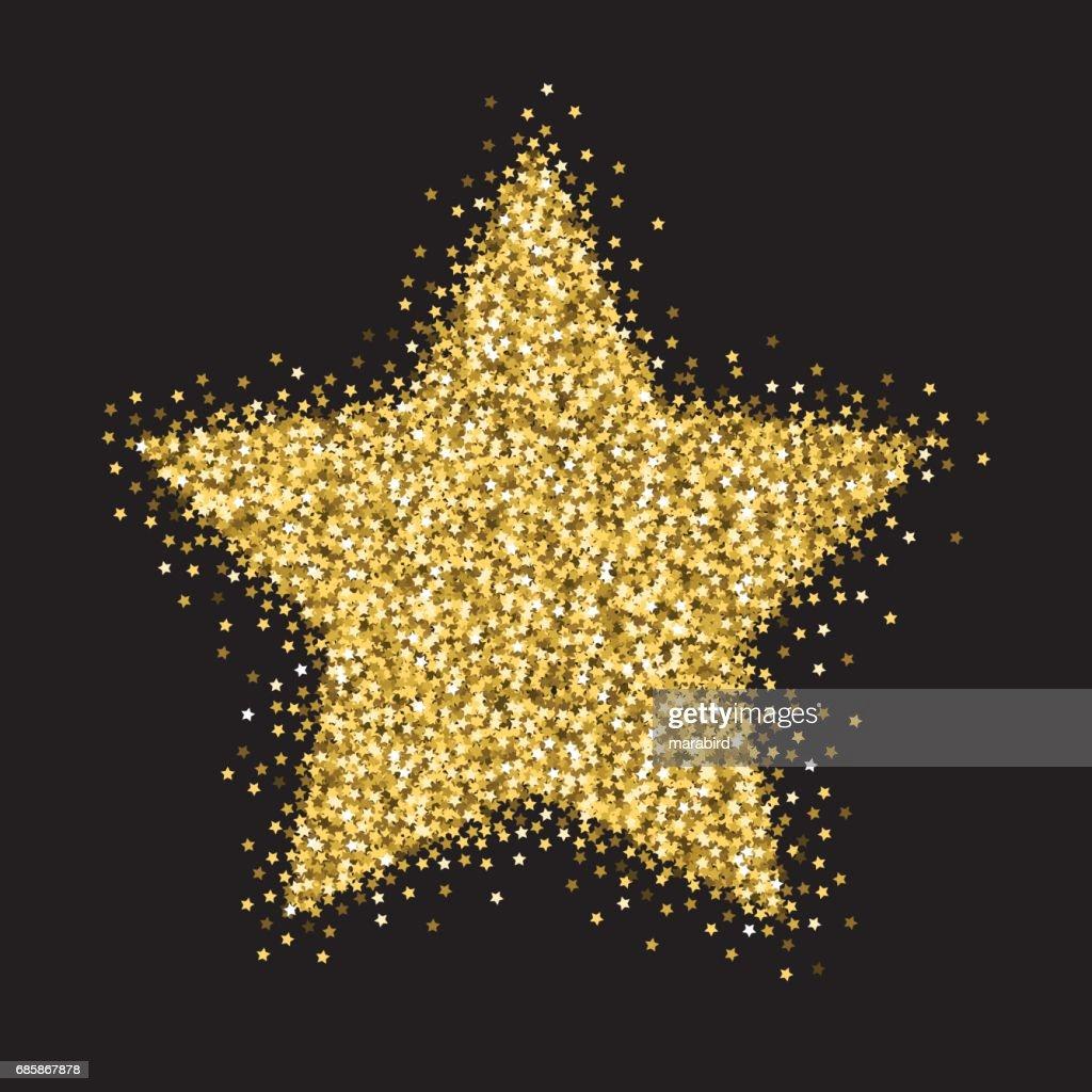 Gold stars glitter big star ornament vector art getty images
