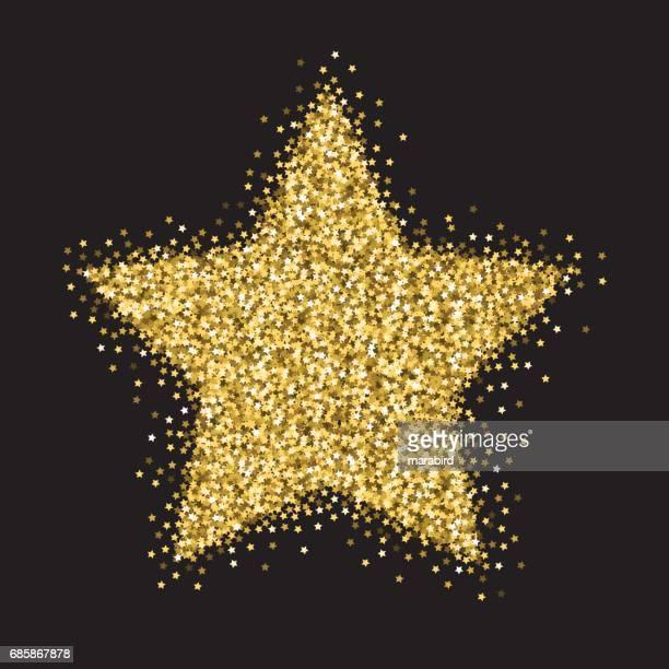 gold stars glitter big star ornament - star shape stock illustrations, clip art, cartoons, & icons