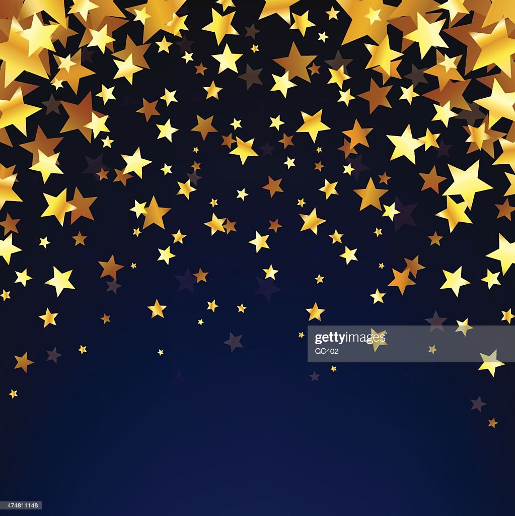 Gold Stars OnThe Dark Background