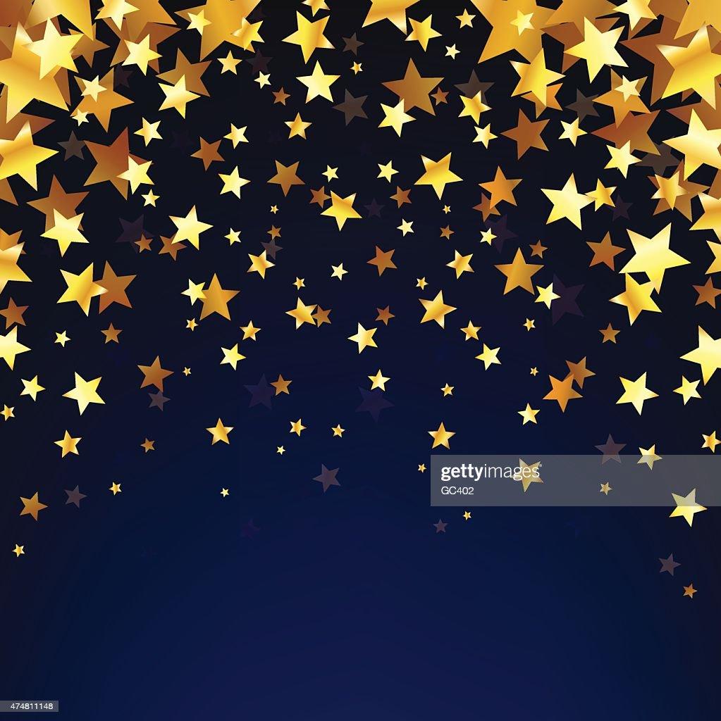 Gold Stars OnThe Dark Background