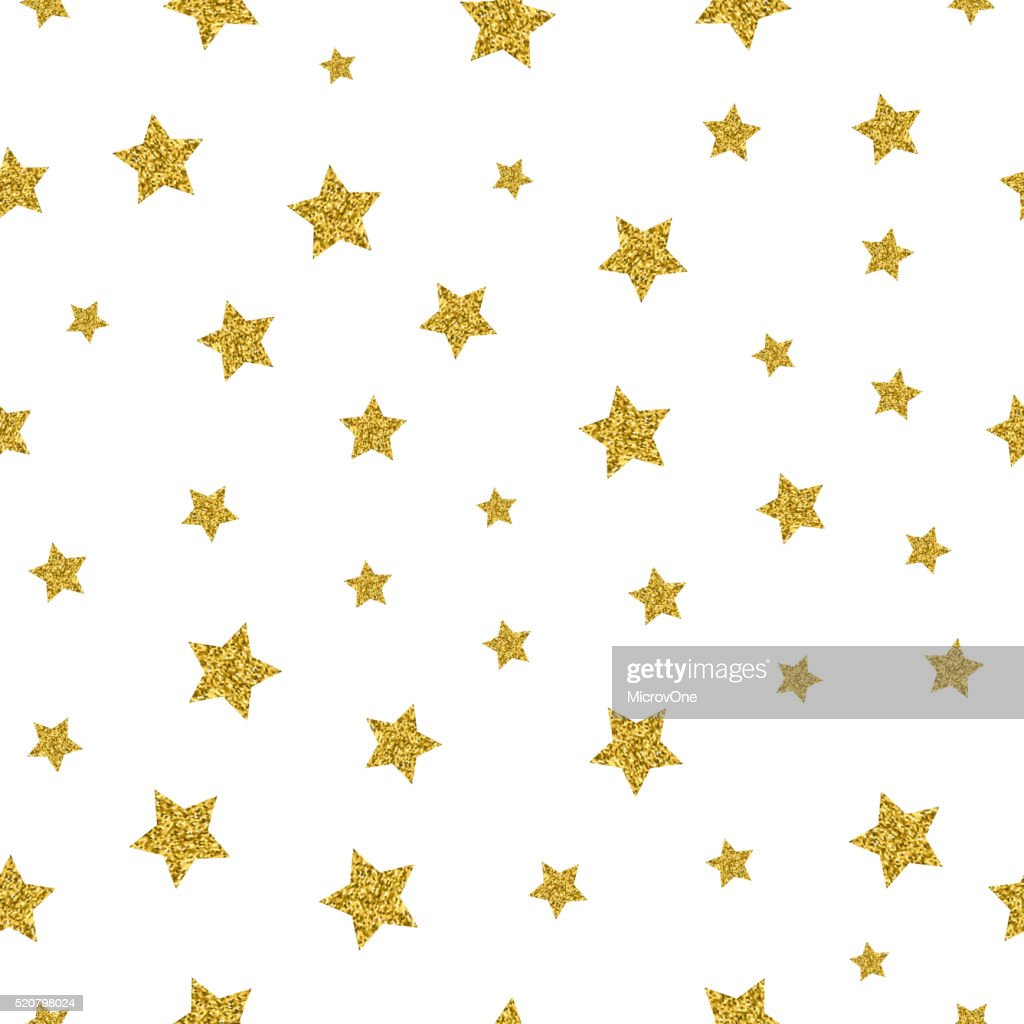 Gold stars vector seamless pattern