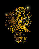 Gold Symbol Feather. Art Deco stylized poster.