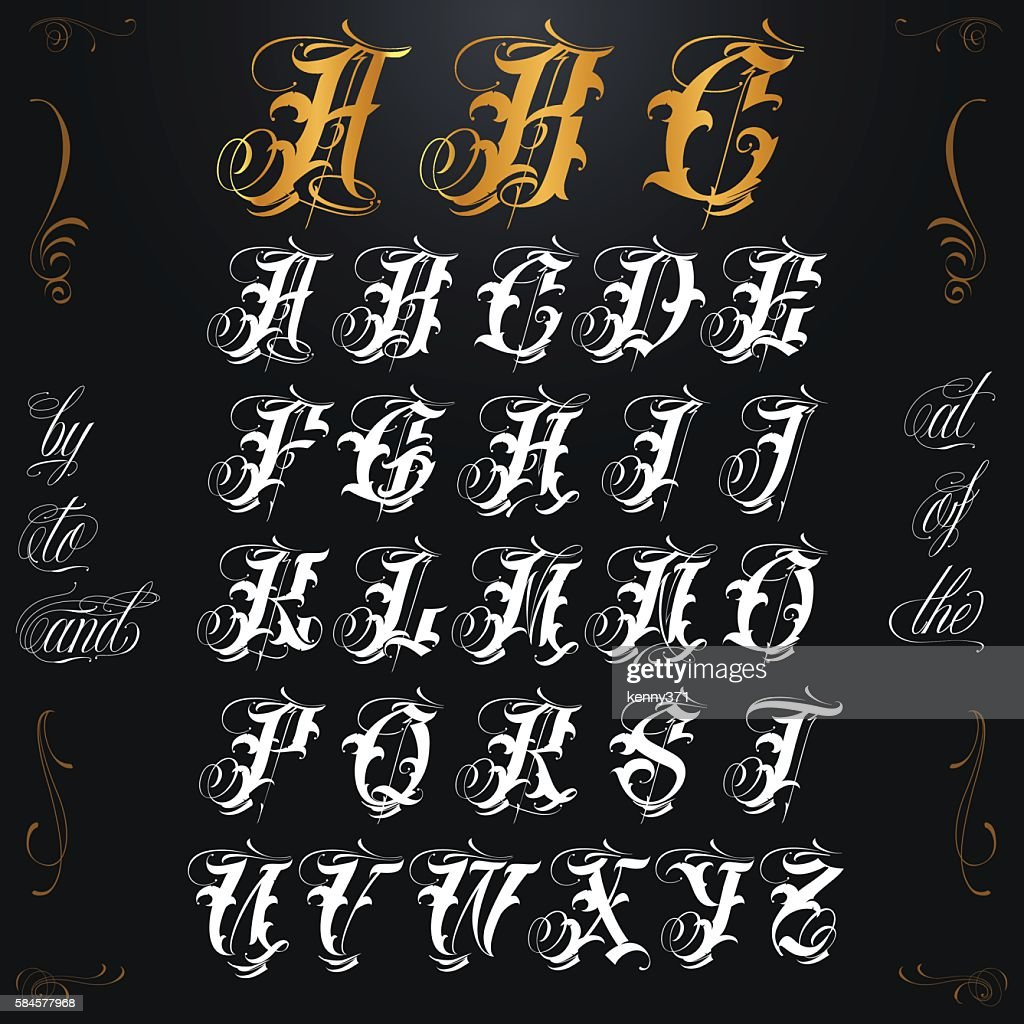 Gold Tattoo Lettering