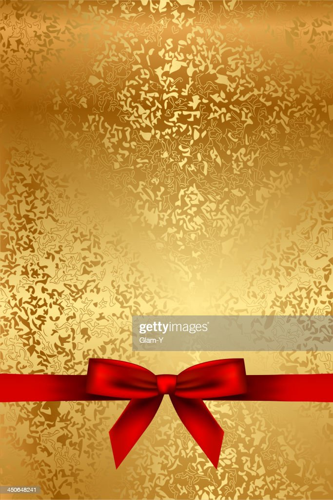 Gold texture with red bow