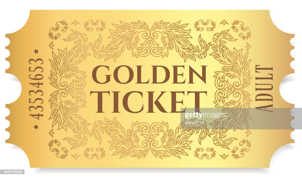 Gold ticket, golden token (tear-off ticket, coupon) isolated on white background