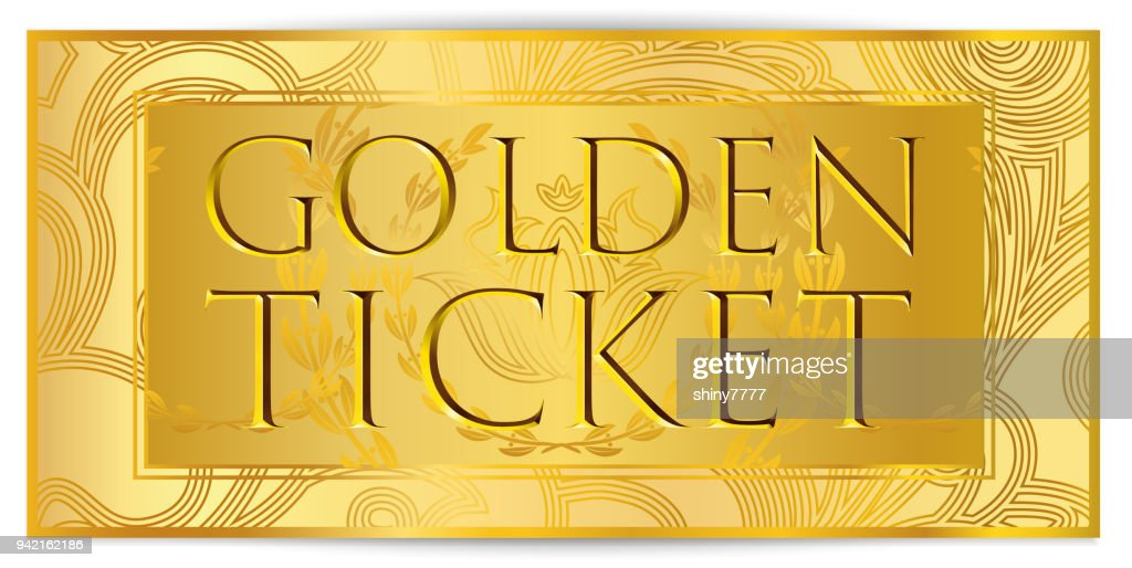 Gold ticket, golden token (coupon) isolated on white background