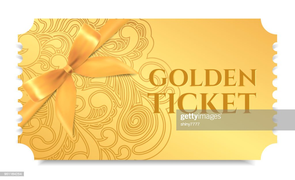 Gold ticket, golden token with bow (ribbon) (tear-off ticket, coupon) isolated on white background