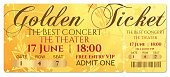 Gold ticket, golden token (tear-off ticket, coupon) with star magical background.
