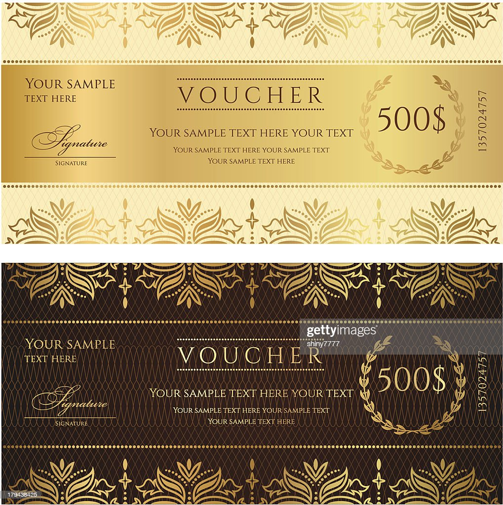 Gold ticket, Voucher, Gift certificate, Coupon template with floral border