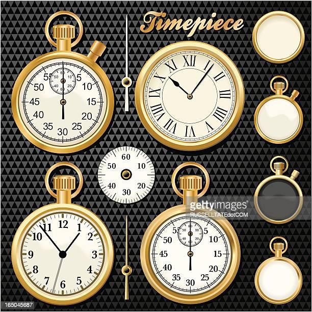 ilustraciones, imágenes clip art, dibujos animados e iconos de stock de timepiece oro - reloj de bolsillo