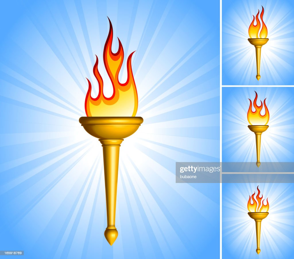 Gold Torch royalty free vector icon set collection : stock illustration