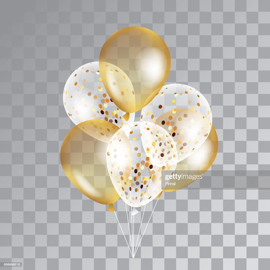 Gold transparent balloons on background.