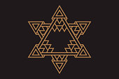 Gold trendy hipster icons and logos. Religion, philosophy, spirituality, the collection of symbols of the occult. the star of David