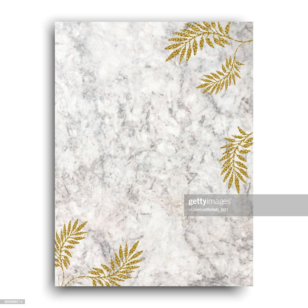 Gold tropical leaves on marble background for holiday designs, card, invitation, party, birthday, wedding, baby shower, bridal shower, save the date, anniversary
