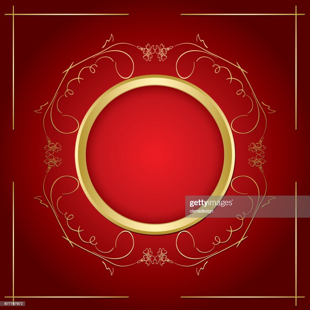gold vector frame with transparent shadow on red background
