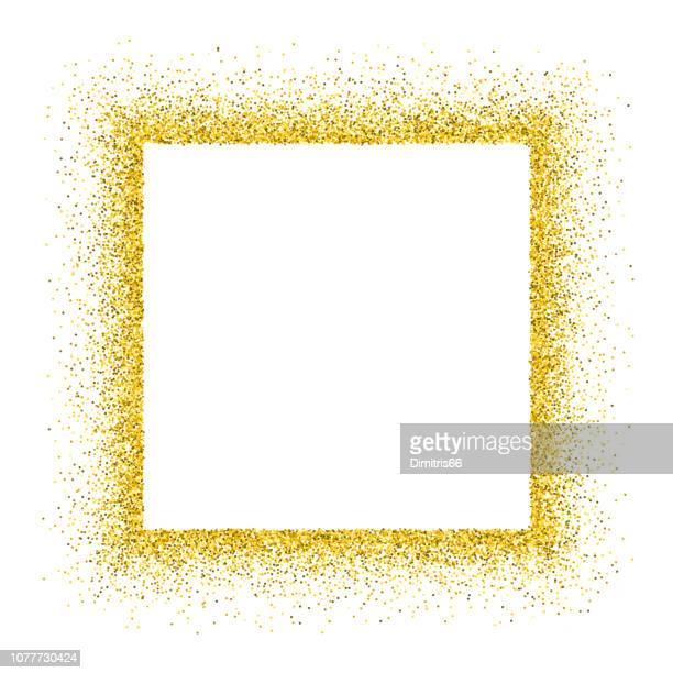 gold vector glitter frame - square composition stock illustrations