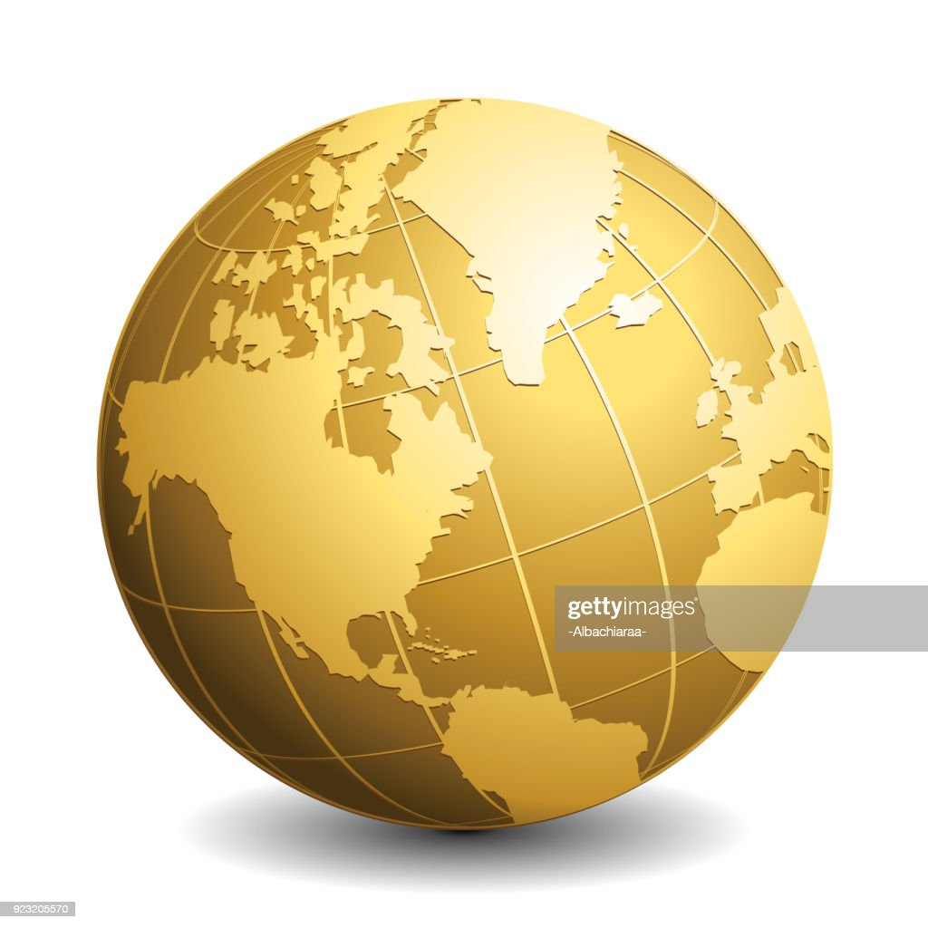 Gold vector globe. Glossy Earth business concept vector icon.