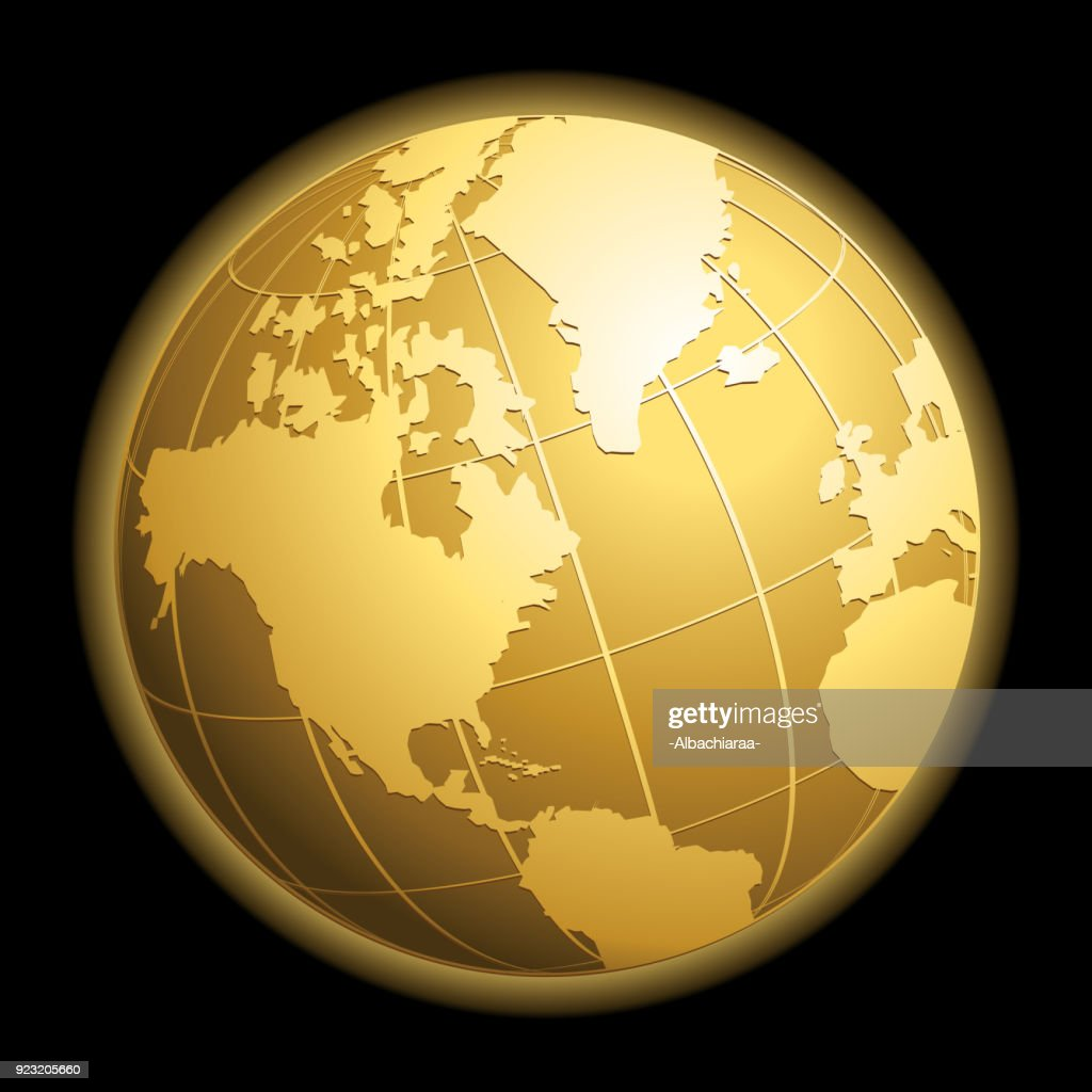 Gold vector globe on black background. Glossy Earth business concept vector icon.