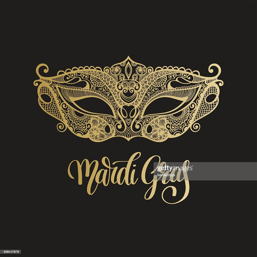 gold venetian carnival mask with hand lettering isolated on blac