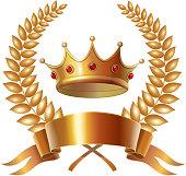 Gold vintage crown and laurel wreath, royal emblem