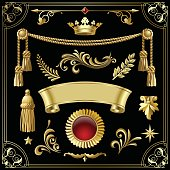 Gold vintage decorative design elements isolated on black.
