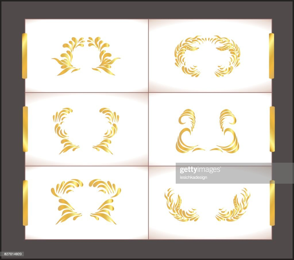 Gold vintage frame scroll ornament. Abstract golden frame