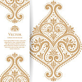 Gold vintage greeting card on a white background. Luxury ornament template. Great for invitation, flyer, menu, brochure, postcard, background, wallpaper, decoration, or any desired idea