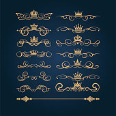 Gold vintage ornaments, vector