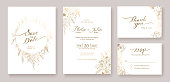 Gold Wedding Invitation, save the date, thank you, rsvp card Design template. winter flower, Rose, silver dollar, olive leaves, Wax flower, Anemone.