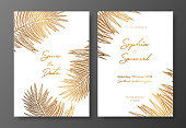 Gold wedding invitation with tropical leaves. Vector elements for design template. Gold tropical leaves for cards, wedding invites, save the date, greeting design, thank you cards, brochures, banners.