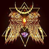 gold wings of bird