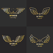 Gold wings outline symbol vector set. Part four.