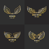 Gold wings outline symbol vector set. Part one.