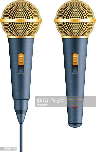 gold wire and wireless vocal microphone - karaoke stock illustrations
