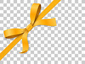 Gold, yellow bow knot and ribbon isolated on white background. Vector illustration 3d top view