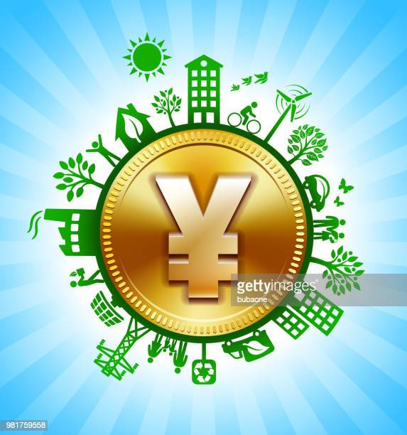 Gold Yen Sign on Environmental Conservation Background