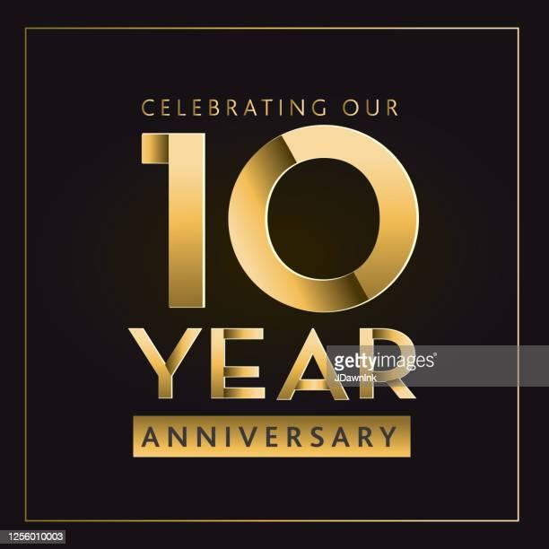 ゴールデン10周年記念ラベルデザイン - 10周年点のイラスト素材/クリップアート素材/マンガ素材/アイコン素材