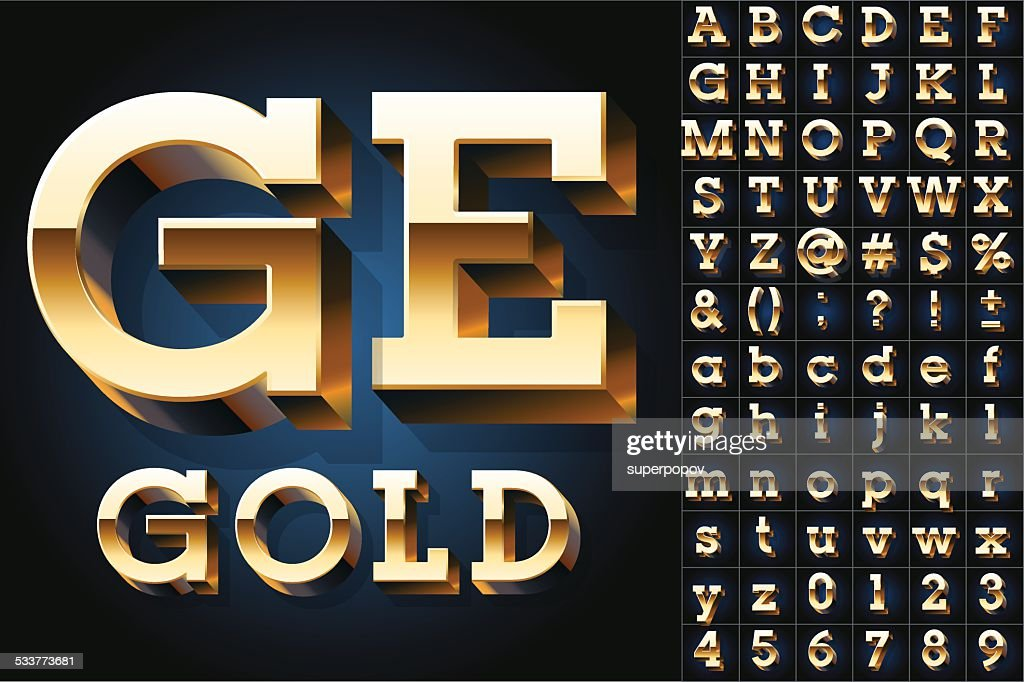 Golden 3D alphabet