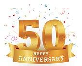 Golden 50 anniversary illustration with colorful confetti