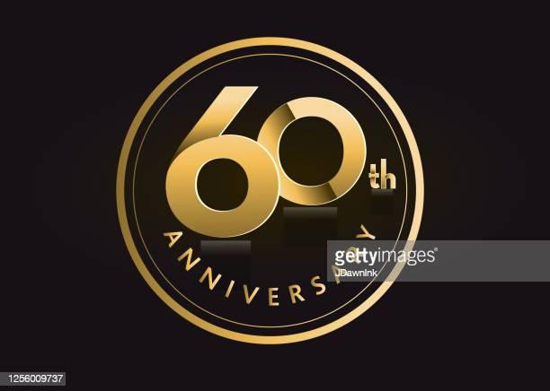 golden 60th anniversary celebration label designs - 60th anniversary stock illustrations