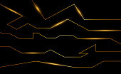 Golden abstract electron energy line on brushed black background. Power vein light tech