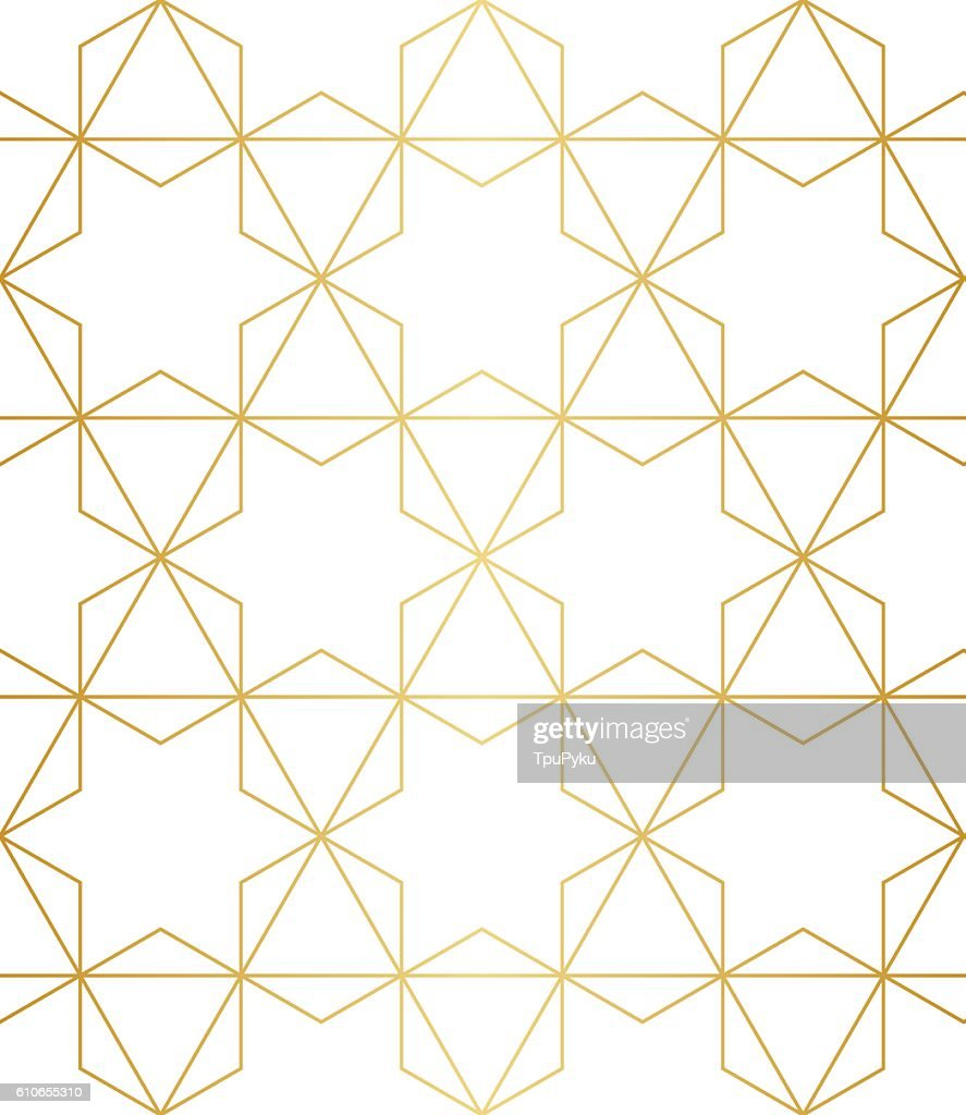 Golden abstract geometric pattern with rhombus, triangles and squares vector