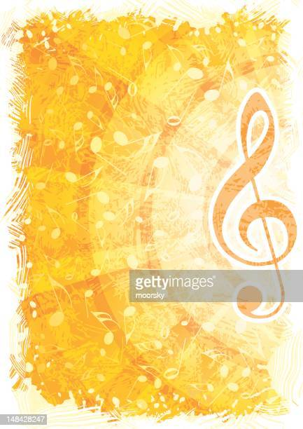 golden abstract music background with focus on treble clef - treble clef stock illustrations, clip art, cartoons, & icons