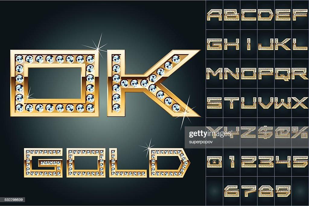Golden alphabet with shining diamonds
