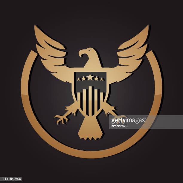 golden american eagle and shield emblem - military stock illustrations