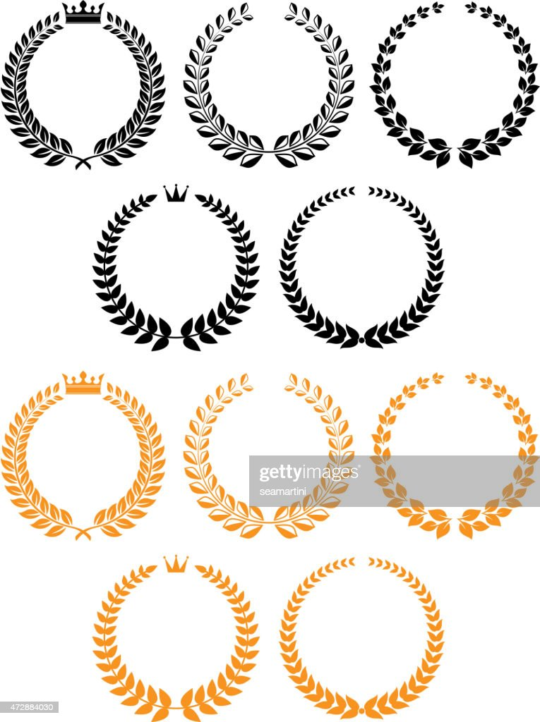 Golden and black laurel wreaths with crowns