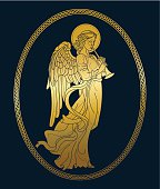 Golden angel with flute