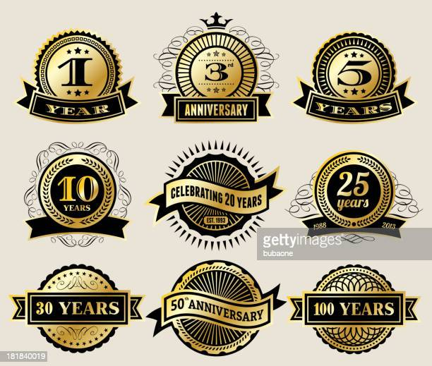 ilustrações, clipart, desenhos animados e ícones de golden aniversário coleção de distintivos - aniversário de 50 anos data especial