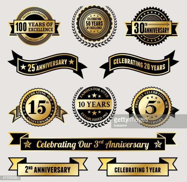 stockillustraties, clipart, cartoons en iconen met golden anniversary badge collection - 50 jarig jubileum