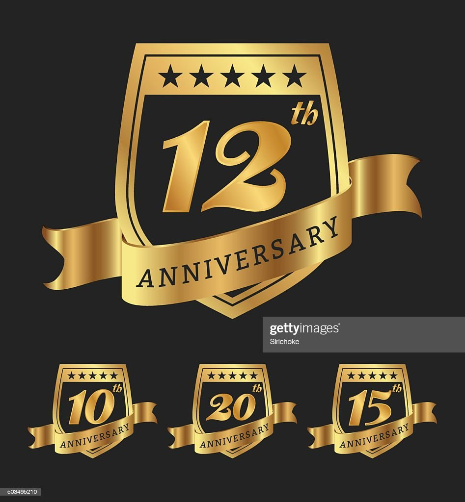 Golden anniversary badge labels design
